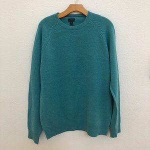 Jcrew turquoise Blue lam wool sweater Sz LT